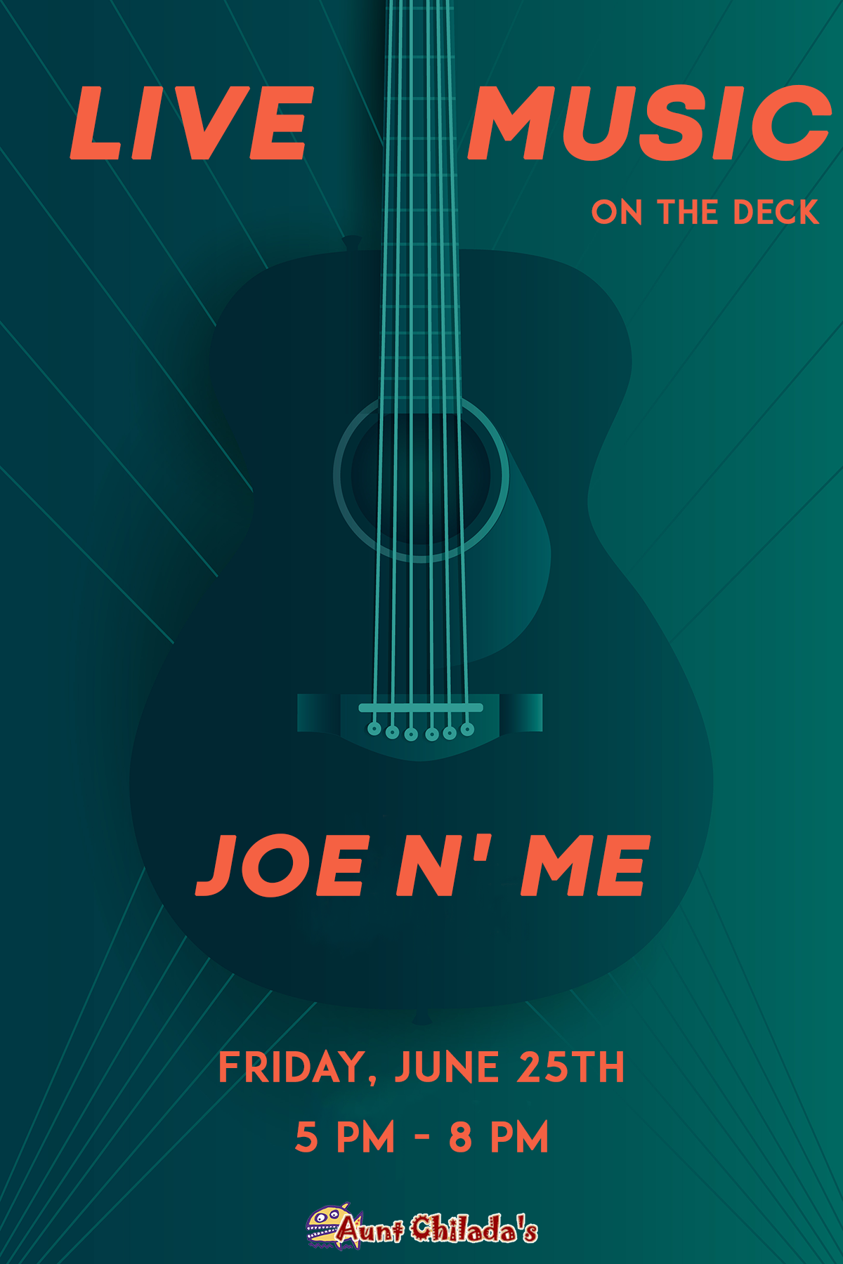 Joe N' Me on Friday June 25th from 5 PM to 8 PM
