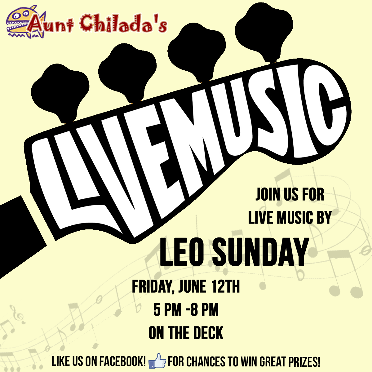 Live music by Leo Sunday on Friday June 12th from 5 to 8 pm on the deck