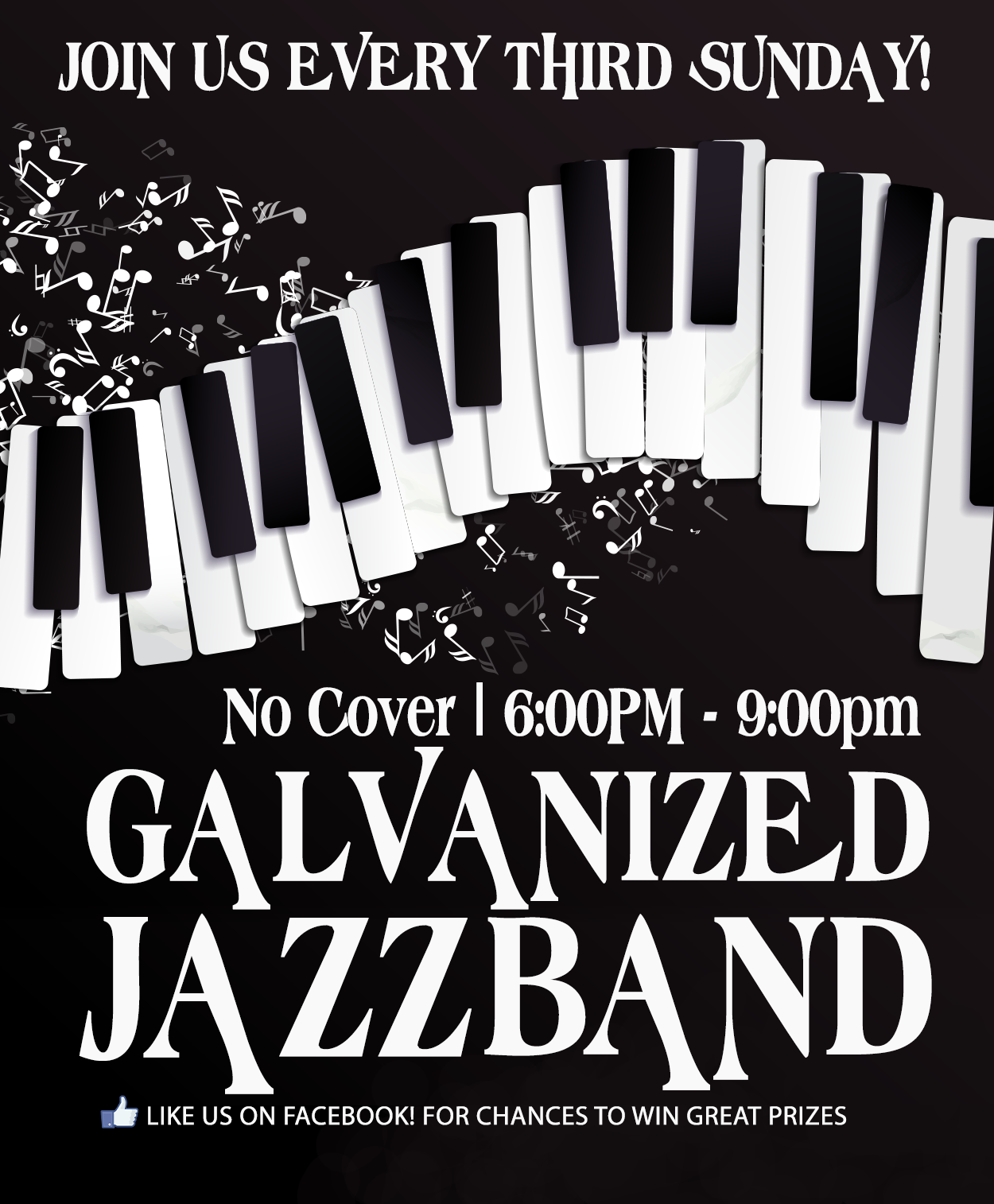 Join us every third Sunday! No cover 6pm-9pm Galvanized Jazz Band.