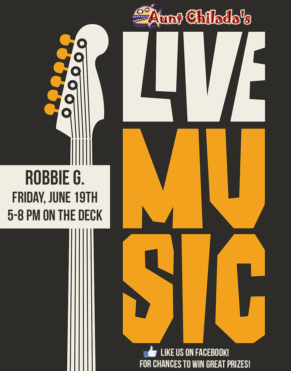 Live music by Robbie G. on Friday June 19th from 5 to 8 pm on the deck
