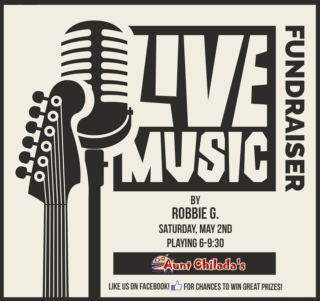 Live music by Robbie G. Fundraiser on Saturday May 2nd from 6 to 9:30 pm