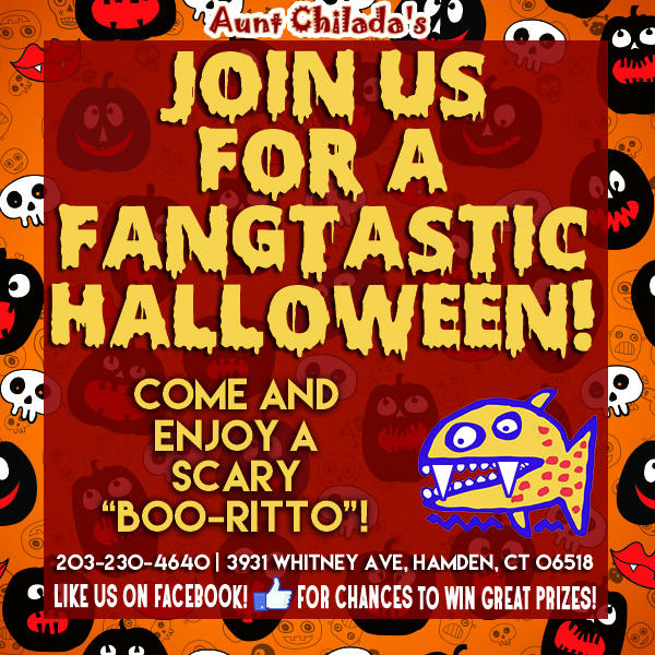 """Join us for a Fangtastic Halloween! Come and enjoy a scary """"boo-ritto""""!"""