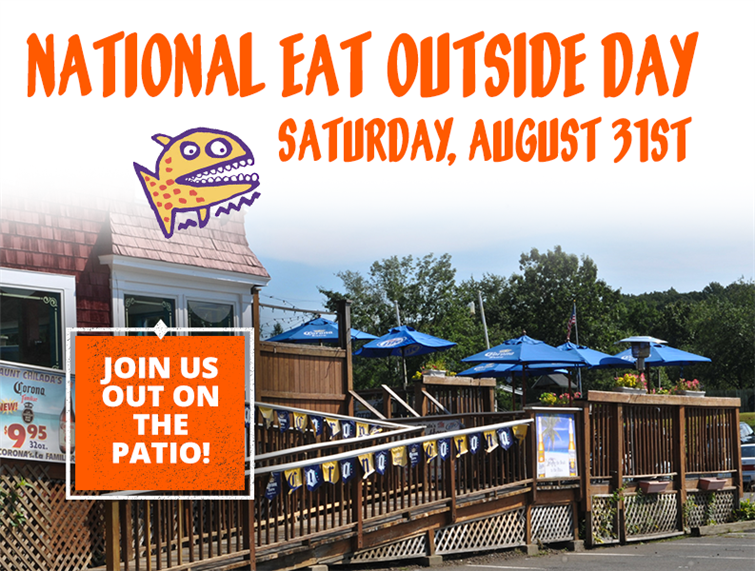 "National Eat Outside Day. Saturday August 31st. Picture of the front patio. ""Join us out on the patio."""