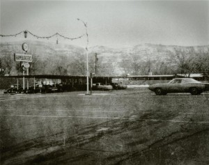vintage pexterior building to moab diner next to a street hoto of moab diner from the parking lot