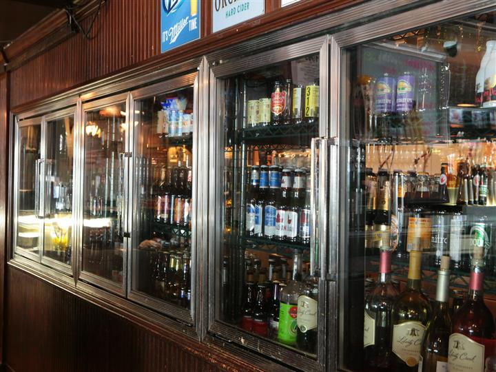 Refrigerated cases of beer, wine and varoius drinks