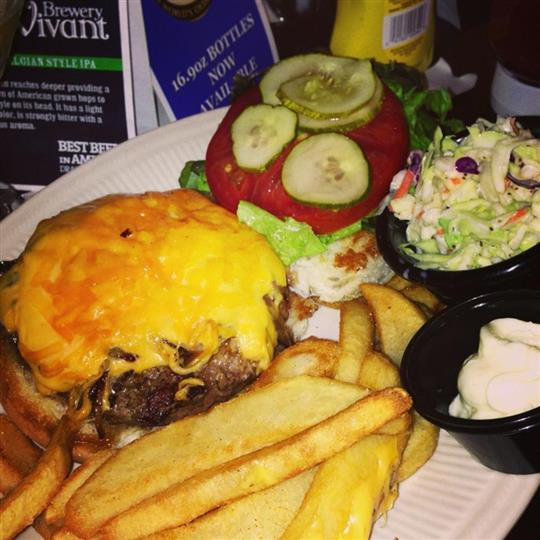 Open faced cheese burger served wtih French fries, coleslaw, and a dipping sauce
