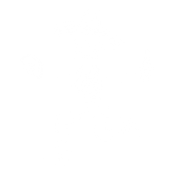 Cartoon skeleton in Mexican attire holding a taco