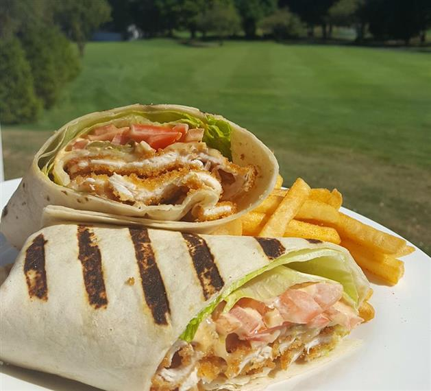 breaded chicken wrap with french fries