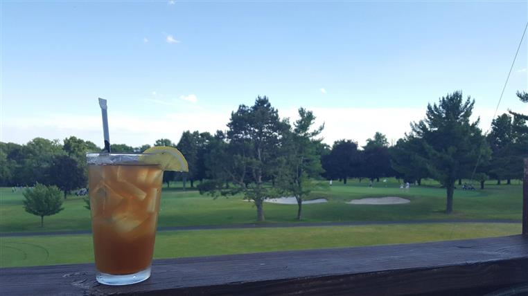 Iced tea outside overlooking the green