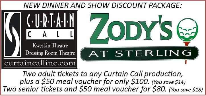 New dinner and show discount package: Two adult tickets to any curtain call production, plus a $50 meal voucher for only $100. (you save $14). Two senior tickets and $50 meal voucher for $80. (you save $18).