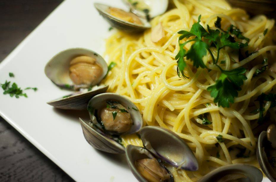 Linguine Alle Vongole. Clams, white wine, garlic, and olive oil.