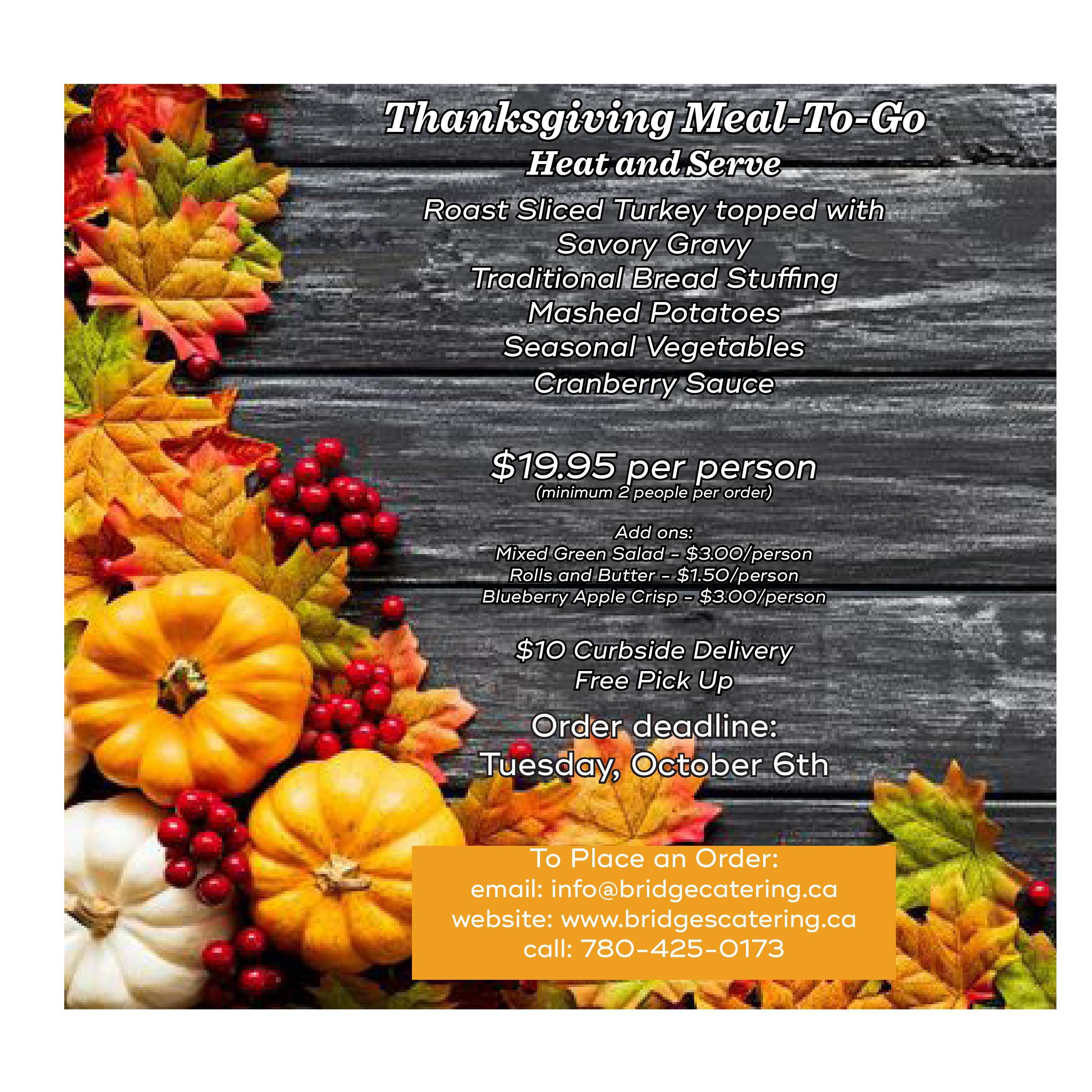 Thanksgiving Meal to Go - click for readable PDF