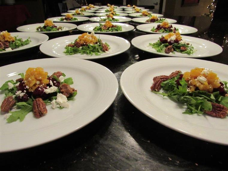 assortment of plated salads