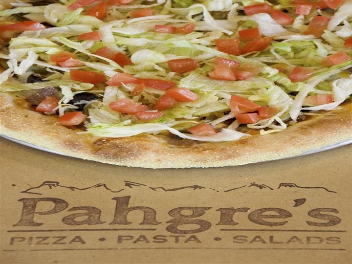 Pahgre's logo with pizza above it