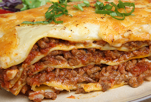 Multi-layered beef lasagna