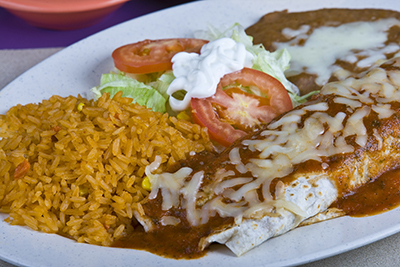Burrito with rice, refried beans, cheese