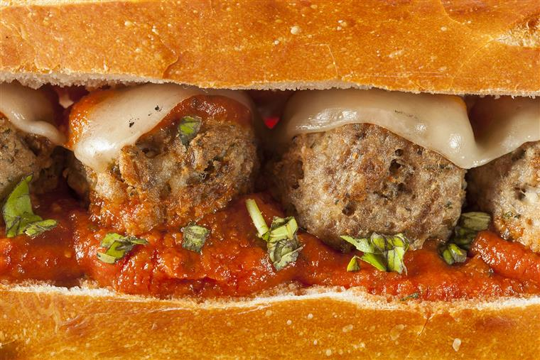 Meatball hero with marinara and mozzarella