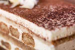 tiramisu. layered coffee flavored dessert.