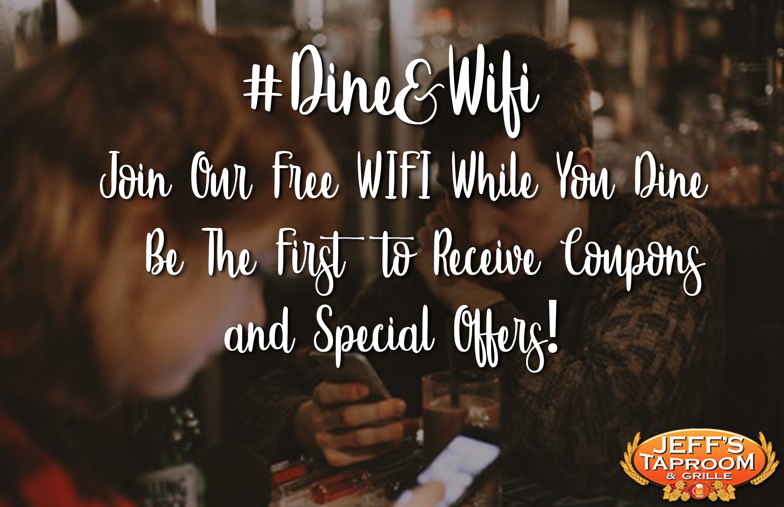 #Dine & WiFi. Join our Free Wifi while you dine be the first to receive coupons and special offers!