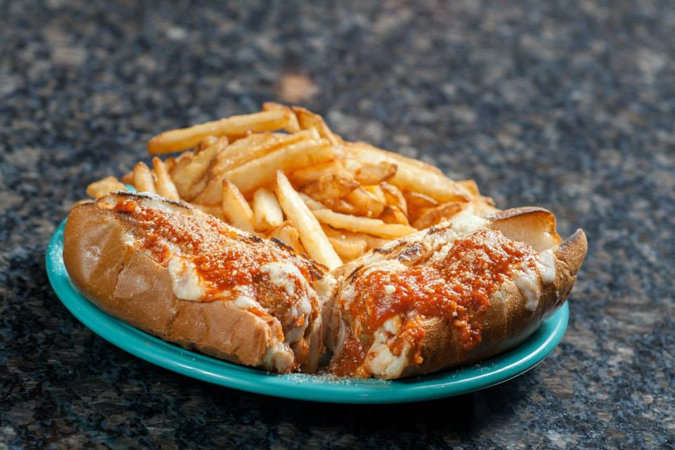 Chicken parmesean sandwich with fries