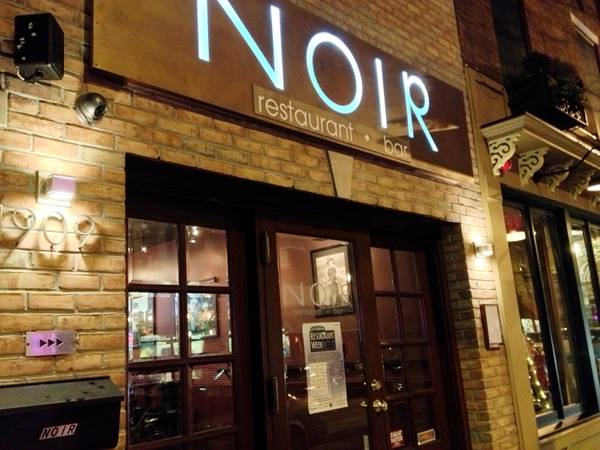 the storefront of noir restaurant and bar