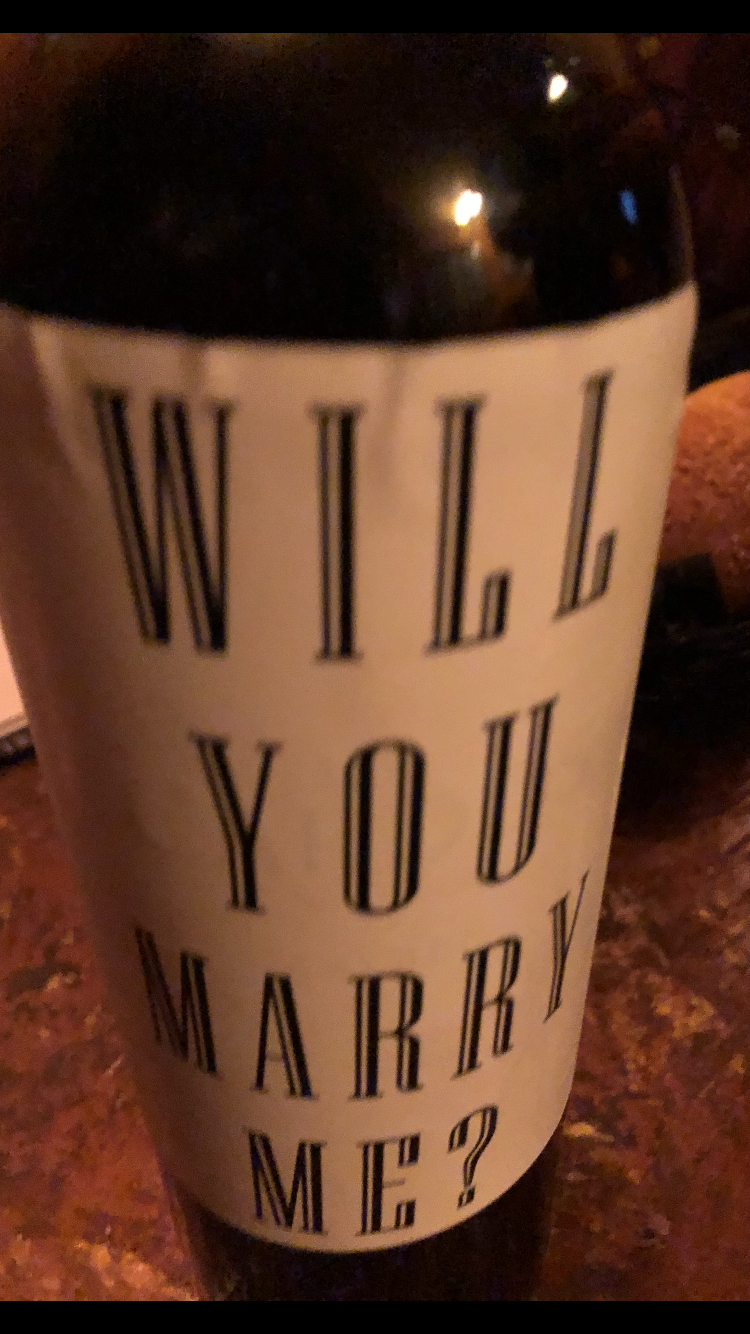 Will you marry me wine label