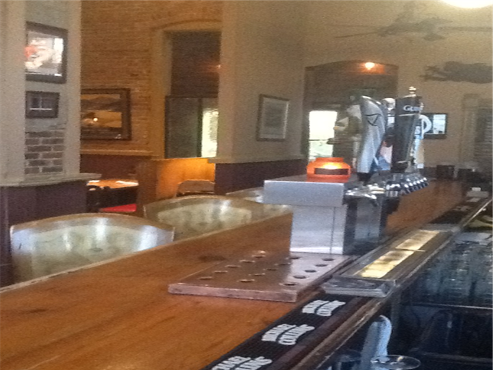 Bar area with beer taps