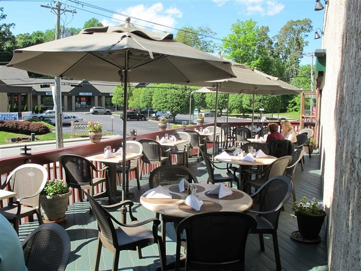 exterior patio filled with tables, chairs and umbrellas