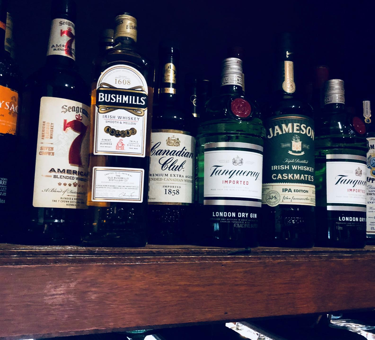 display of various bottles of whiskey