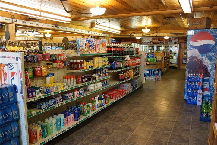 interior market showcasing food items of shelves