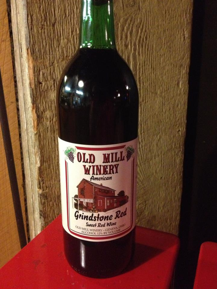 old mill winery grindstone red wine bottle