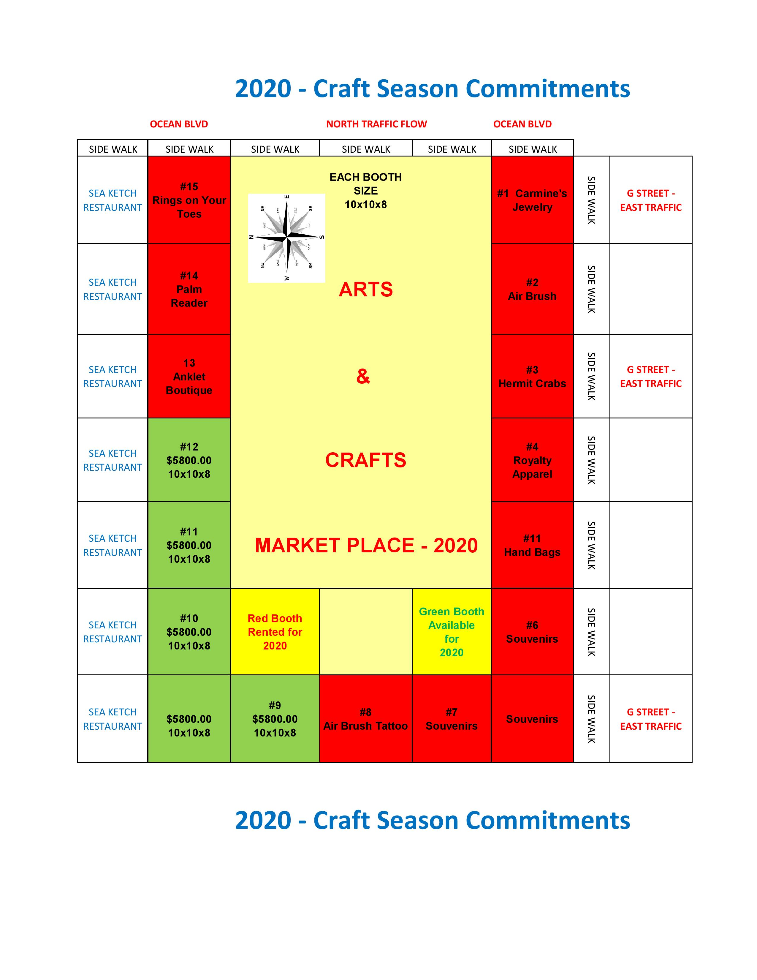 2020 Craft season commitments. Arts and crafts market place 2020, see PDF for redable version