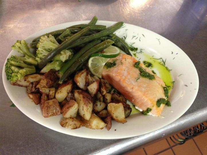 salmon, roasted potatoes, green beans and broccoli