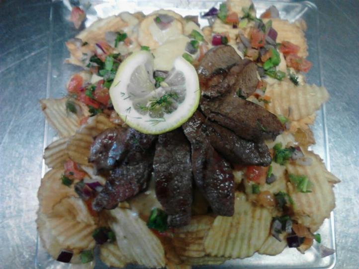 potato chips topped with beef
