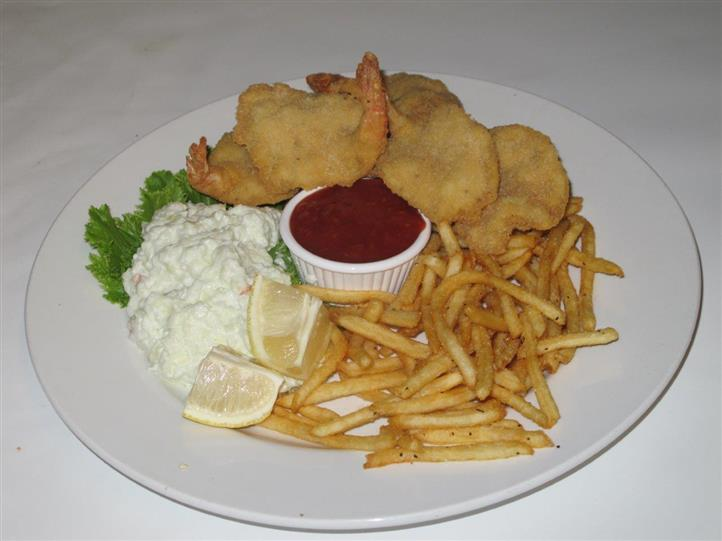 shrimp, coleslaw and fries with dipping sauce