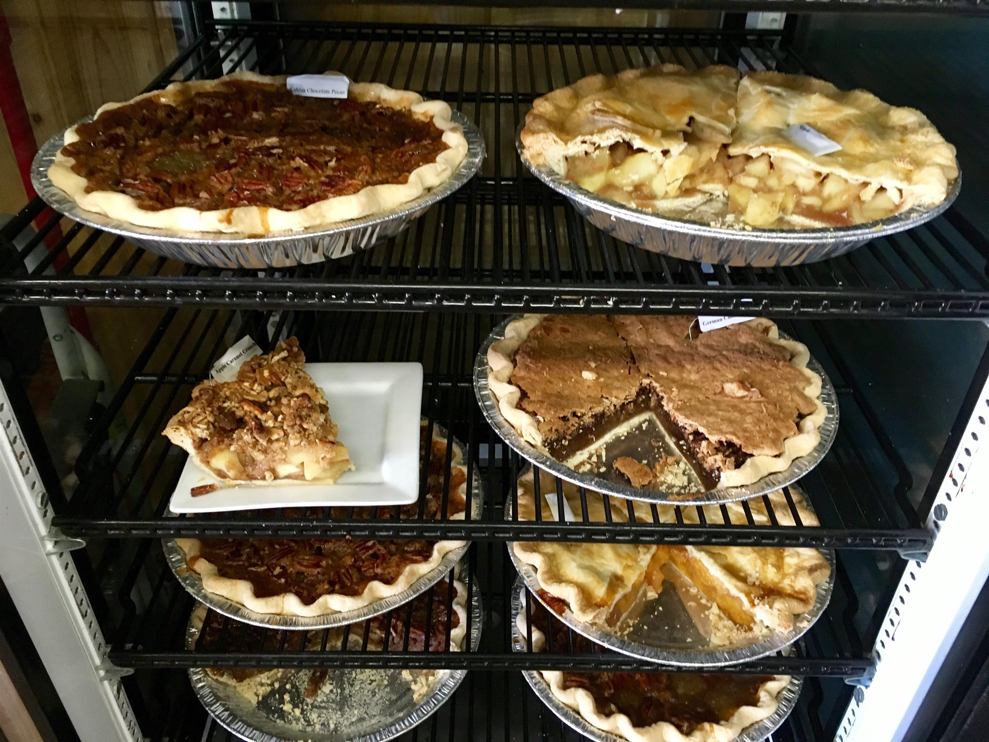 Dessert pies in the fridge
