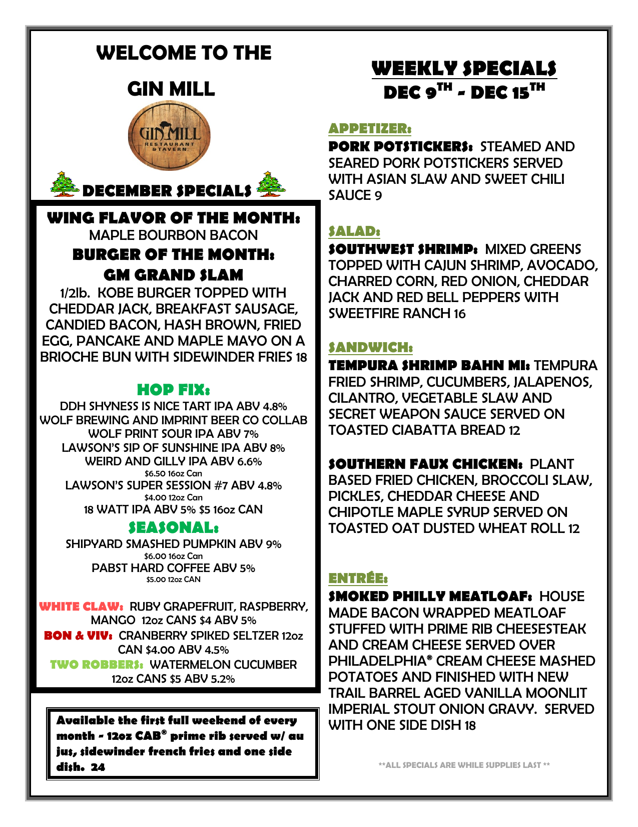 Gin Mill Weekly Specials for Dec 9th - Dec 15th (Page 1)