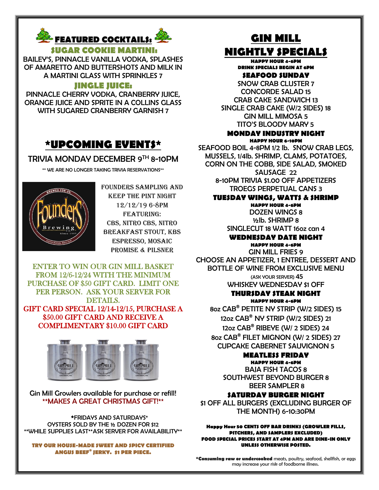 Gin Mill Weekly Specials for Dec 9th - Dec 15th (Page 2))