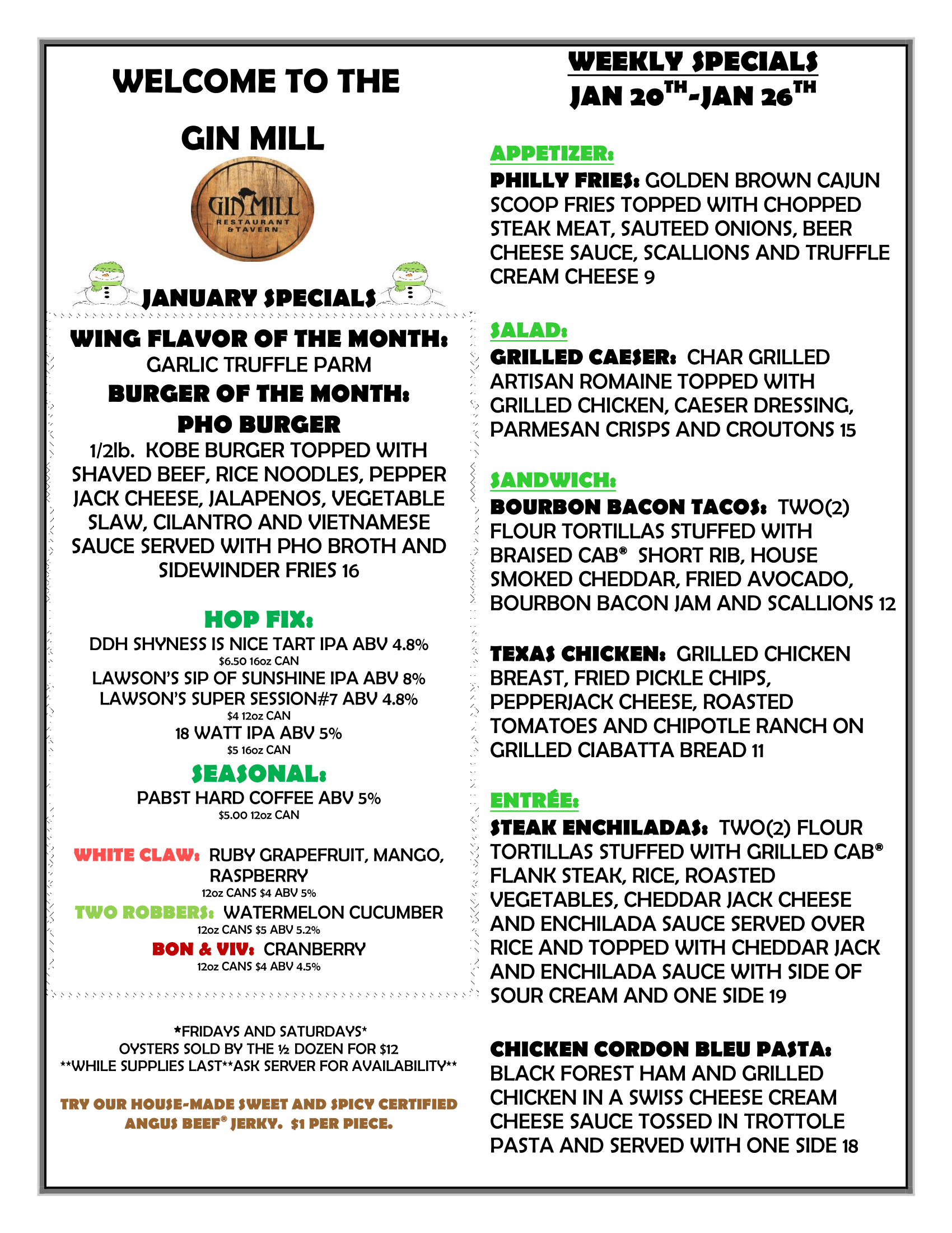 Weekly Specials : Jan 20th - Jan 26th