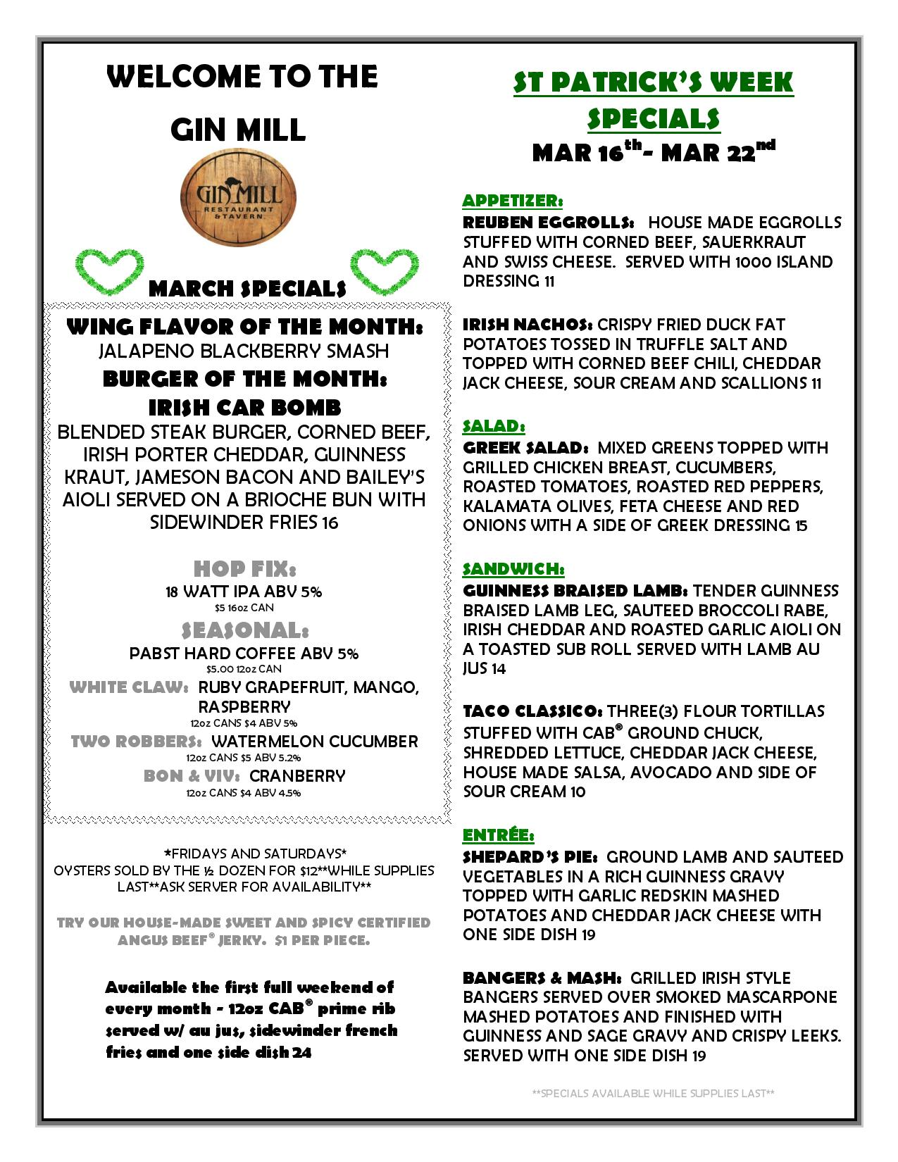 march 16th to march 22nd specials