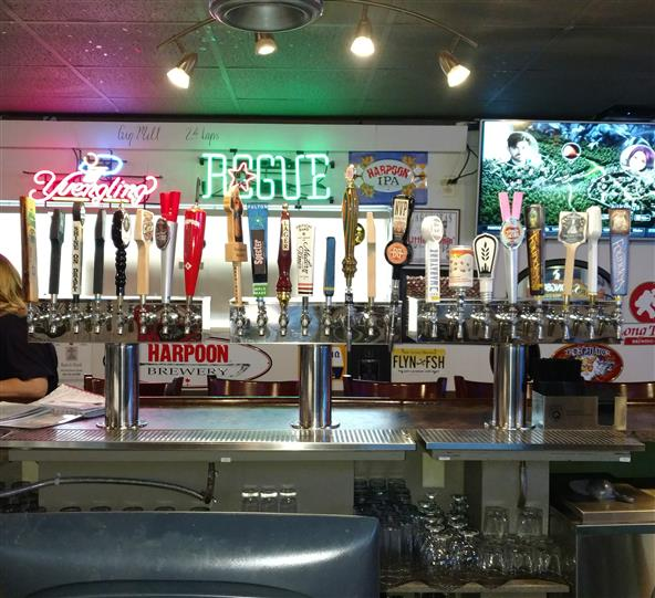 Beer taps at bar