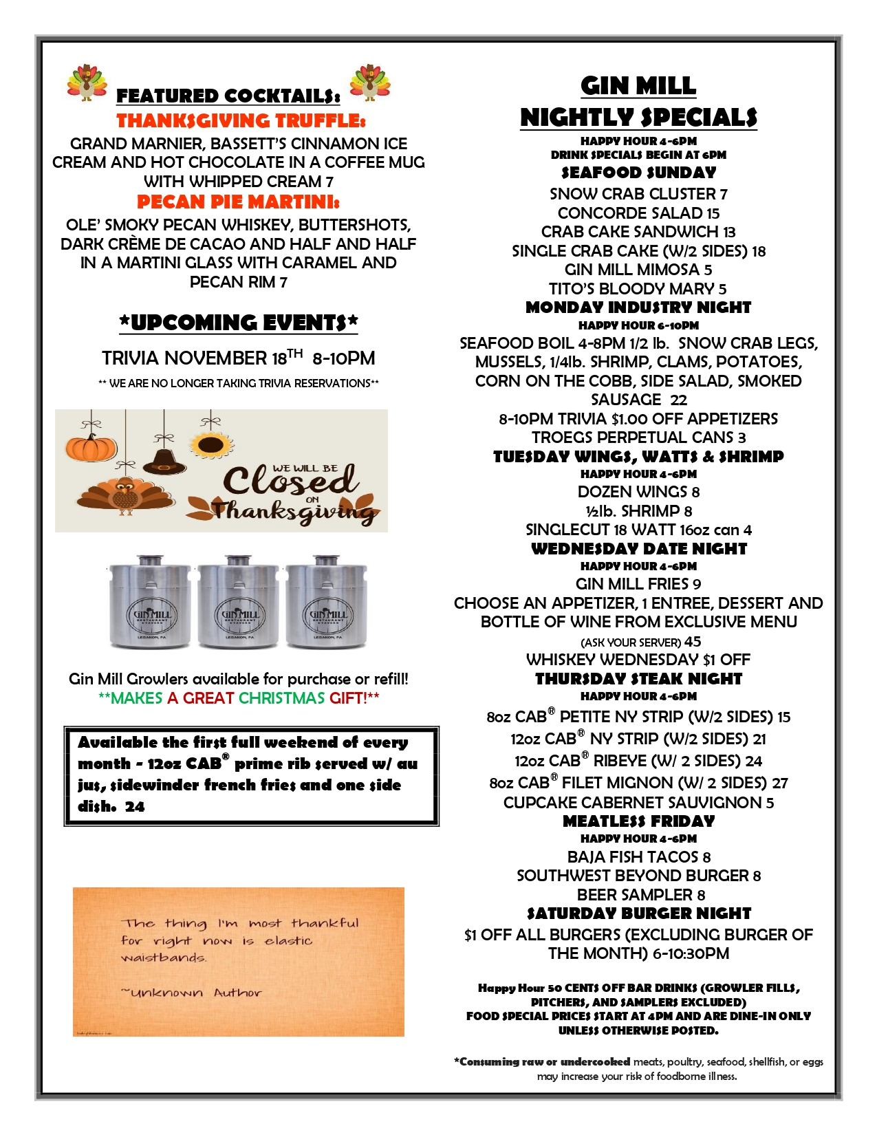 Gin Mill Weekly Specials Nov 18th - Nov 24th (readable PDF version linked above)