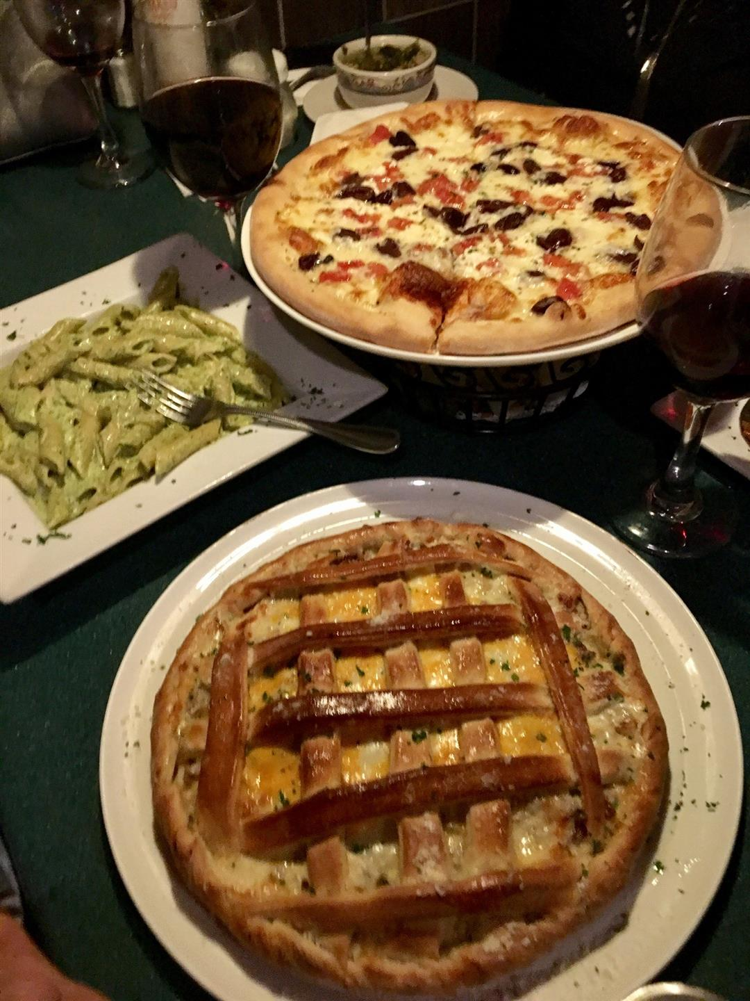 assorted pizzas and pastas