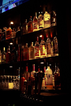 various bottles of alcohol behind the bar