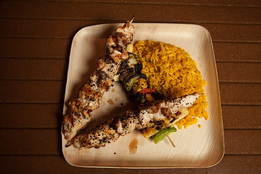 chicken skewer with yellow rice