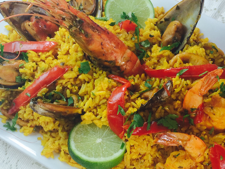 seafood entree with rice and vegetables