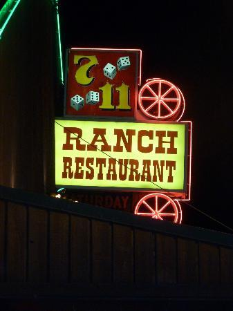 711 Ranch Restaurant sign located on top of the restaurant