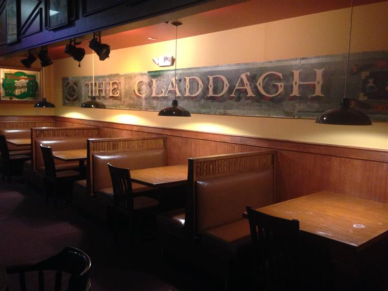 booths with the claddagh in big letters above the booths