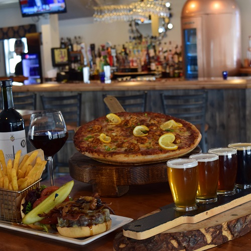 Table with Pizza, Beer, and Burger=