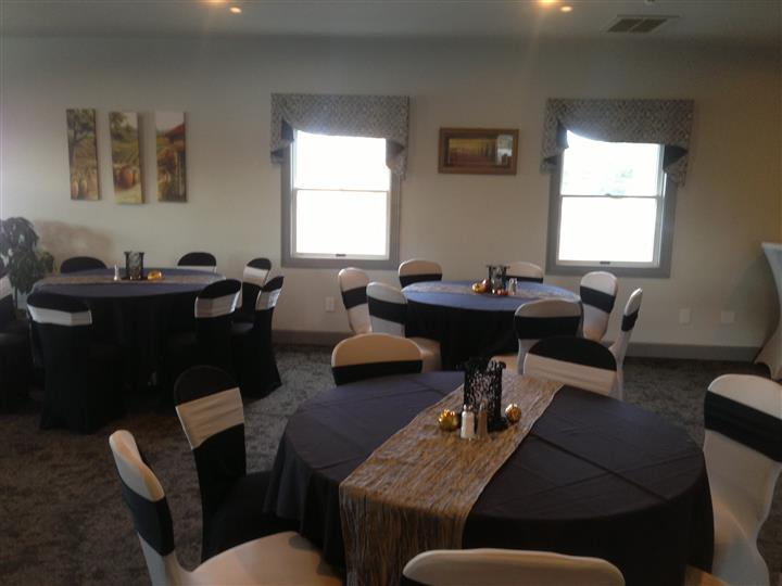 decorated tables and chairs